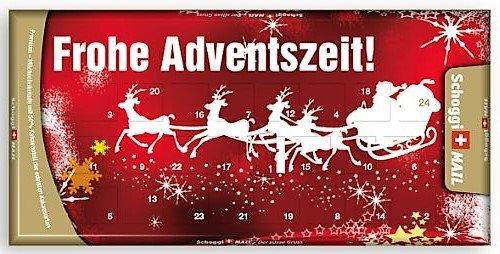Preisvergleich Produktbild Weihnachtskarte,  Grusskarte & Schweizer Premium Schokolade - Adventskalender Schlitten