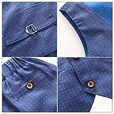 157430307 Kimocat - Traje Formal de Algodón para Bebé Niño Elegante con Cintura  Elástica Conjunto de Boda Fiesta Ceremonia Bautizo con Flor de Pecho - Azul  - 2-3 Años