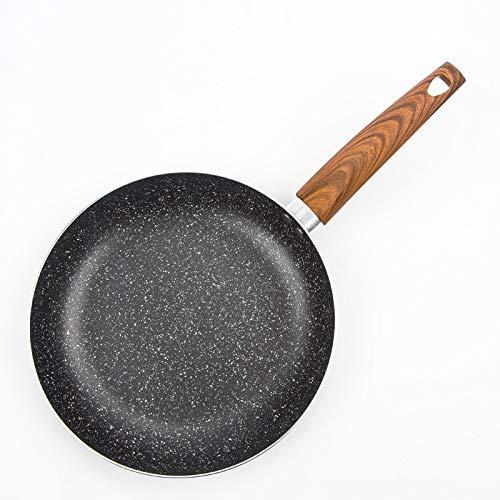 Weiwei grill elettrico lega di alluminio per uso domestico padella piatta 24 centimetri fritto bistecca antiaderente per piastra di cottura stampo manico in legno (nero)