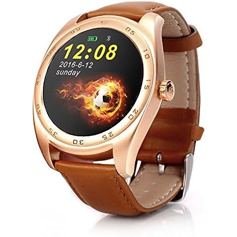 RG Inteligente a prueba de agua Reloj Bluetooth pulsera de los deportes de la cámara remota Health Monitor para Android IOS (Reloj de Brown del