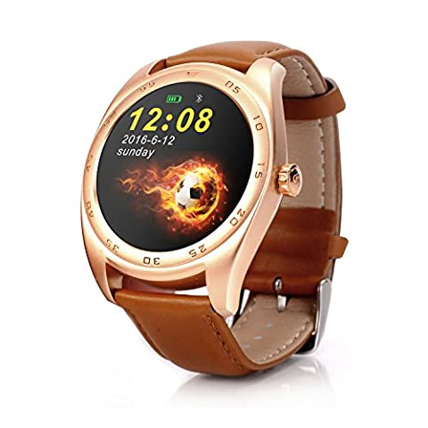 RGTOPONE Multifunctional Bluetooth Smart Watch Splash Resistant Sports Bracelet Pedometer Tracker Fitness Fitness Distance Camera Health Monitor For Android IOS (Brown montre en cuir)