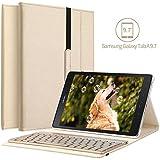 Samsung Galaxy Tab A 9.7Schutzhülle mit Tastatur, KVAGO, 7-farbige Hintergrundbeleuchtung, abnehmbare Tastatur, dünne Hülle mit entfernbarer Bluetooth-Tastatur, dreifach umklappbar, PU-Leder, Smart Cover, Hintergrundbeleuchtung für Samsung Galaxy Tab A 9.7 Tablet SM-T550 T555 gold gold
