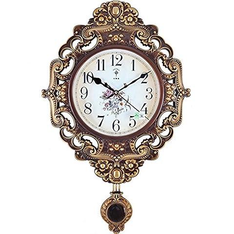 Kreativ Retro Pendel Uhr Stumm Swing Clock Quarzuhr Stripe Design Style Dekorative Wanduhr ( größe : Gold )