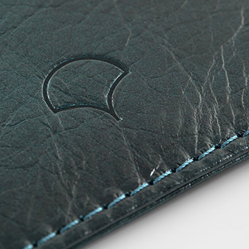 Kreditkartenetui aus Echtleder, Schwarz - RFID-Abschirmung, 5 Taschen, schlankes Design Marineblau
