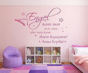 wandtattoo mit namen und sternen spruch engel kann man nicht sehen f rs kinderzimmer und. Black Bedroom Furniture Sets. Home Design Ideas