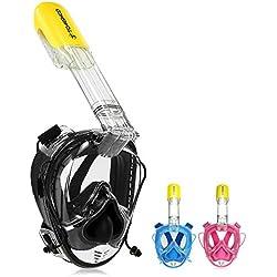 TOMSHOO Masque de Plongée, Masque Tuba Snorkeling Plein Visage, 180°Visible Anti-buée Anti-Fuite 100% étanche avec Canaux à Double Flux d'airles Sports Aquatiques, avec la Monture pour Caméra Gopro