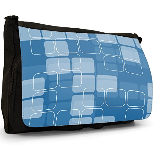 Fancy A Bag Borsa Messenger nero Abstract Reflections Blue & White Rectangle Mosaic Type Pattern