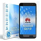 EAZY CASE 3X Bildschirmschutzfolie kompatibel mit Huawei Ascend G610, nur 0,05 mm dick I Bildschirmschutz, Schutzfolie, Bildschirmfolie, Transparent/Kristallklar