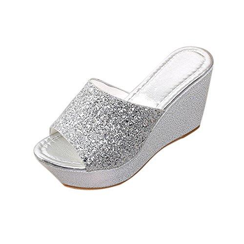 Hunpta Frauen Hausschuhe Sexy Open Toe Schuhe Wedge Slip High Heel Hausschuhe Flip Flop Silber