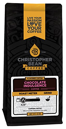 Christopher Bean Coffee Flavored Decaffeinated Ground Coffee, Chocolate Indulgence, 12 Ounce