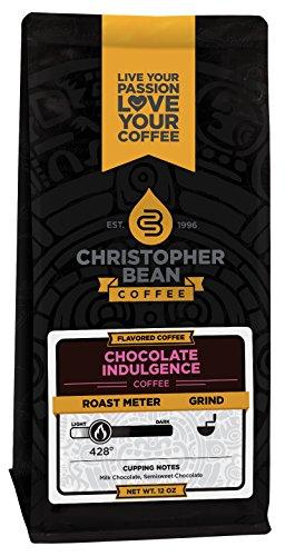 Christopher Bean Coffee Flavored Decaffeinated Ground Coffee, Chocolate Indulgence, 12 Ounce 51mvdxgbzzL
