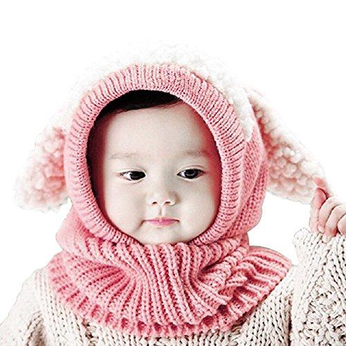 Winter Wolle Gestrickte Hüte Schals Kapuze Mönchskutte Beanie Mützen für Kinder Junge Baby Mädchen Schalmütze Tier Mütze Wolleschal warme Haube Kappen Hüte Earflap Schaf gestrickte Kindmütze Rosa