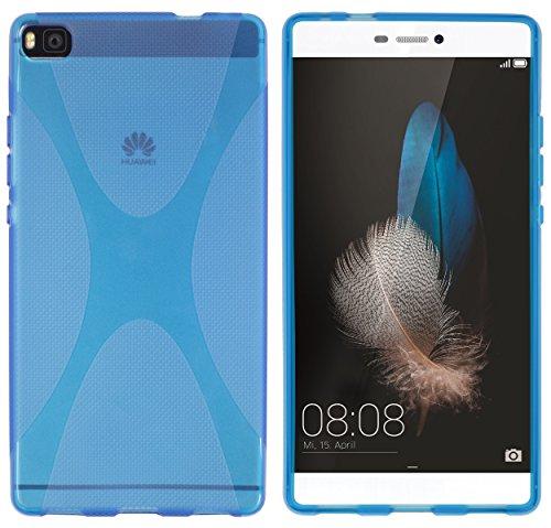 kazoj Schutzhülle Huawei P8 Hülle aus TPU im X-Design in transparent blau