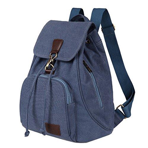 TININNA donne del signore Vintage retro tela Zaino Backpack Satchel Sacchetto di scuola Nero Blu