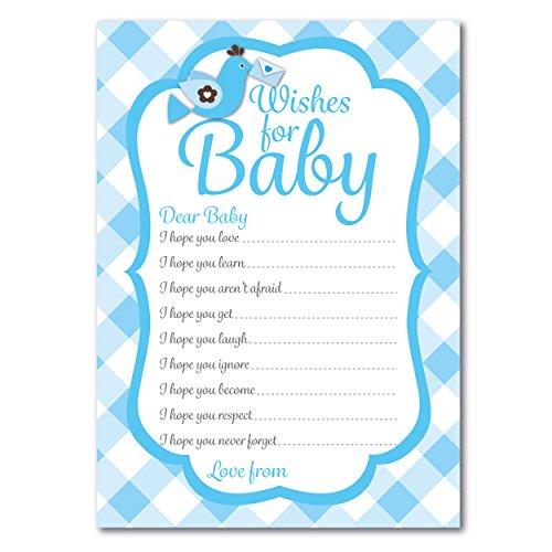 Baby Dusche Wünsche für Baby Karten, 16Stück, großartiges Andenken (mit Umschlägen), Pappe, blau, Without envelopes