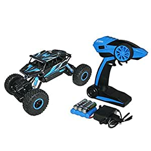 Zest 4 Toyz 1:18 Remote Control Rock Through Sports Car Truck 4WD Rally Rough and Tough Toy, Blue