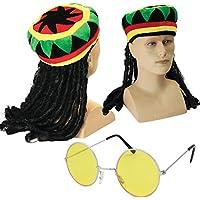 Jamaican Chapeau Rasta avec dreadlocks attachés + rondes teintées Lunettes 21e539e8d690