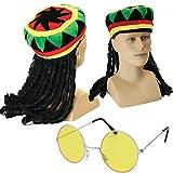 Jamaican Chapeau Rasta avec dreadlocks attachés + rondes teintées Lunettes