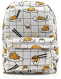 Finex White Gudetama Canvas Backpack With Laptop Storage Compartment For School College Daypack Causal Travel...