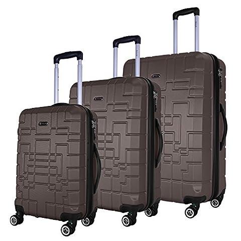 SHAIK® Serie XANO HKG Design Hartschalen Trolley, Koffer, Reisekoffer, in 3 Größen M / L / XL / Set 50/80/120 Liter, 4 Doppelrollen, TSA Schloss (Koffer Set, Anthrazit)
