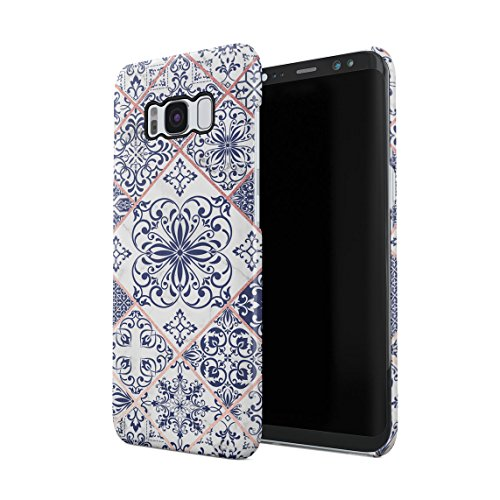 Light Blue Moroccan Ornaments Mosaic On White Marble Dünne Rückschale aus Hartplastik für Samsung Galaxy S8 Handy Hülle Schutzhülle Slim Fit Case Cover