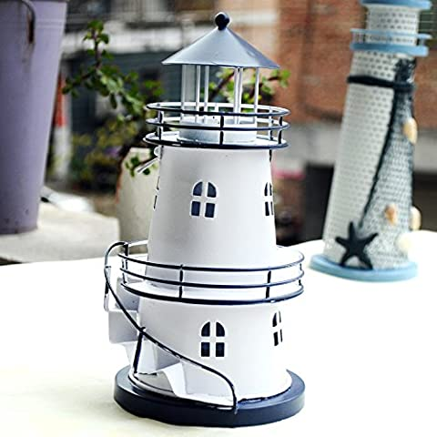 xiuxiandianju Eastern Mediterranean style Iron Lighthouse with Stairs Lighthouse Candle