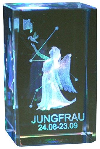 Immerschön 3D Laser Kristall Glasblock mit Sternzeichen Jungfrau