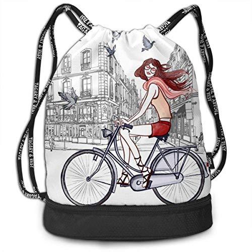PmseK Sac à Dos Cordon de Serrage,Young Girl Print Drawstring Backpack Bag Outdoor Bundle Backpack Gym Sackpack Travel Sport Yoga Gym Cinch Bag Laptop Sack Bag Beach Rucksack for Women & Men