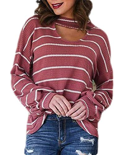 BingSai Womens Halter Long Sleeve Choker Neck Stripe Knitted Pullover Sweater Top 2 S - Cashmere Deep V-neck Sweater