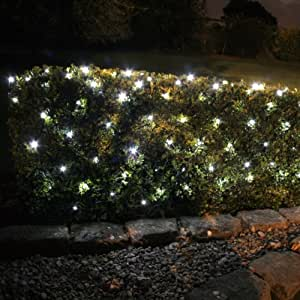 100 White LED Solar Powered Garden Net Light 1.5m x 0.8m by Lights4fun