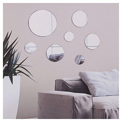 Set de 7 espejos decorativos para la pared del baño o la habitación, redondo