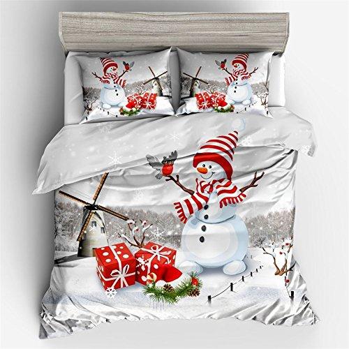 Ktlrr christmas decorations set copripiumino matrimoniale, simpatico pupazzo di neve con cappello di babbo natale, pezzi set di biancheria da letto con federe 2pcs no doudou, ornamenti di natale kids gift home decor, cotone, nyy60, double(200x225cm,3pcs)