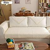 DW&HX Reine Farbe Sofa möbel Protector für Hund,100% Baumwolle Sofabezug Volltonfarbe Verdicken sie Sofa werfen abdeckungen Anti-rutsch Gesteppter Spitze -A 35x83inch(90x210cm)