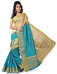 Zaki Women's Beautiful Plain Zari Border ChitPallu Tassar Silk Fashion Saree With Blouse Piece