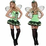 Kleid Damen sexy Kostüm grüner Schmetterling Waldfee Fee Elfe Butterfly Karneval (Small)