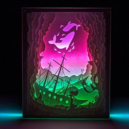 Neuheit LED sinkendes Schiff Bunte Fernsteuerungs USB-3D Stereolampe Papier-Skulpturlampe Nachtlicht - Schiff Sinkende