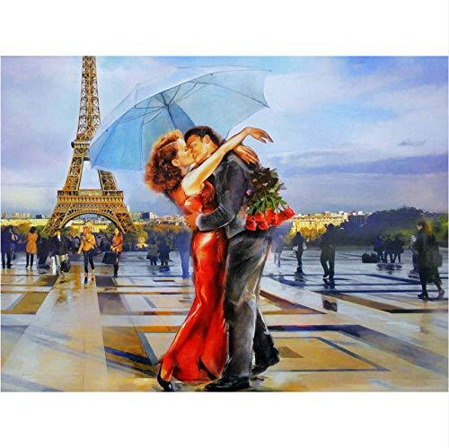 mzcyl 5D Diamant Malerei Paris Frankreich Eiffelturm Landschaft DIY Kristall Vollbohrer Runde 3D Kreuzstich Kit Mosaik Runde Strass 45X60Cm (Kreuzstich-frankreich)