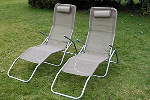 Set of 2 Siesta Sun Lounger Relaxer Recliners in Tweed Textoline With Padded Head Rest