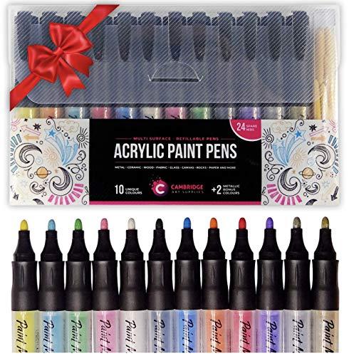 Pennarelli per vernice acrilica - 12 colori vivaci fantastici + 24 punte di ricambio - Pennarelli a punta media ricaricabili per legno, tela, pittura su stoffa Artigianato fai da te