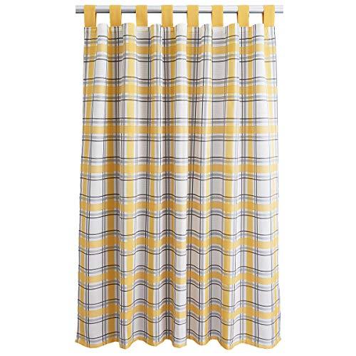 SeGaTeX home fashion Landhaus-Vorhang Hetty gelb kariert Deko-Schlaufenschal mit 8 Schlaufen Übergardine Landhausserie Hetty