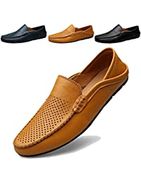ef24ee702358a KAMIXIN Mocassini Uomo Pelle Estivi Pantofole Casual Eleganti Slip On Scarpe  da Guida Scarpe da Barca