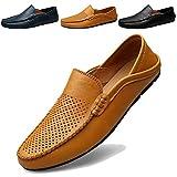 KAMIXIN Mokassins Slipper Herren Fahren Schuhe Leder Loafers Slip on Handgefertigt Flache Business Schuhe Halbschuhe Gelb 42EU
