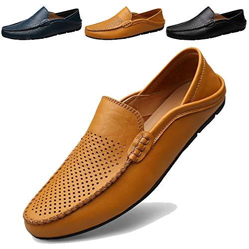 KAMIXIN Mocassini Uomo Pelle Estivi Pantofole Casual Eleganti Slip On Scarpe da Guida Scarpe da Barca Classic Loafers Giallo 44EU