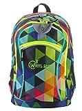 Wheel-Bee® Rucksack, Design Multicolour mit integriertem LED Licht (grün) und Reflektorstreifen, Schulrucksack, Daypack, Backpack, Sichtbarkeit bei Dunkelheit, 30 Liter, 950001