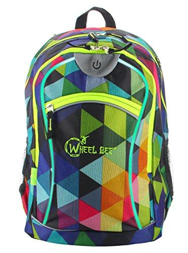 Beleuchtung Ecke Der Tasche (Wheel-Bee® Rucksack, Design Multicolour mit integriertem LED Licht (grün) und Reflektorstreifen, Schulrucksack, Daypack, Backpack, Sichtbarkeit bei Dunkelheit, 30 Liter, 950001)