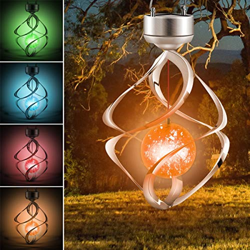 Haokaini Solar Wind Chimes Lights, Waterproof Leds Colour Changing Hanging Lights,Spiral Spinner Hanging Lamp for Garden Patio Balcony Outdoor Decor