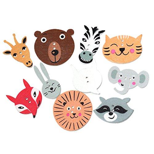 10 x animales de madera botones Mix 2,2cm-3cm