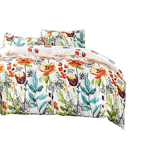 Boqingzhu Bettwäsche 200x200cm 3 Teilig Bunt Blumen Pflanzen Muster Mikrofaser Doppelbett Bettbezug mit Reißverschluss und 2 Kopfkissenbezüge 80 x 80cm
