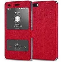 Prevoa ® 丨Huawei P8 Lite Funda - Flip S - View Funda Cover Case para Huawei P8 Lite 5.0 Pulgadas Android Smartphone - Hotpink