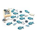 SET Tisch-Deko 36 Teile: 12 Stück STREU-Deko FISCHE mit Klebepunkt 5 x 2,7 cm + 24 mini STREU-Teile 8 Fische, 8 Anker, 8 Steuerrad ca. 2,5 cm … Tisch-Streu Streuteile Zierdeko Zierstreu Mini-Teile